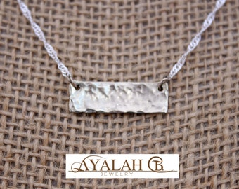 Textured bar pendant, silver plated chain, simple geometric necklace