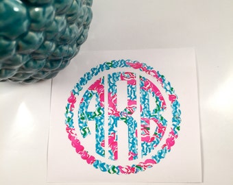 Lilly Pulitzer Monogram Decal - Lilly Monogram - Lilly Pulitzer - Monogram Decal - Monogram - Lilly Decal - Lilly Monogram Decal
