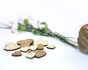 Bamboo Mini Hearts (10) - Various sizes available