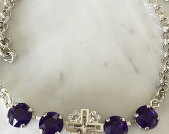 Filigree Cross Necklace with Purple Velvet Crystals