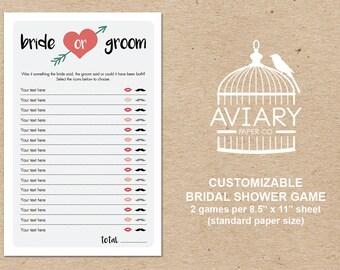 Customizable DIY Bridal Shower Game - Bride or Groom / He Said She Said Game