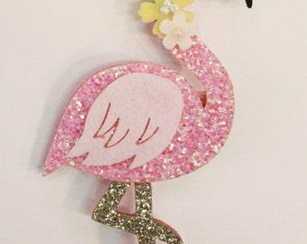 Glitter flamingo hair clip
