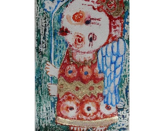 Folk art painting, mini angel painting, Original art, Folk Art, Primitives, watercolor, painting on canvas, abstract angel, canvas art