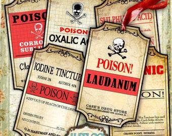 Printable tags POISON label - bottle jar labels Halloween instant download printable images digital collage sheet - tl156