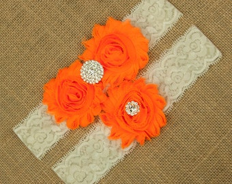 Neon Orange Wedding Garter, Bright Orange Garter, Orange Garter Set, Neon Garter Set, Wedding Garter Belt, Neon Bridal Garter Belt, SCIS-O03
