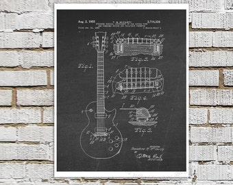Gibson Les Paul Guitar Poster, Guitar Art, Guitar Player Gift, Electric Guitar Bridge Patent Poster Print #4 Black Chalkboard Wall Art
