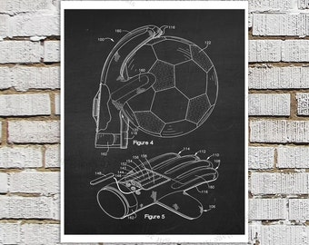 Soccer Goalie Gloves Poster Patent print #4 Black & White Chalkboard Patent art, Gift for Soccer Mom, Boys Bedroom Art, Soccer Poster