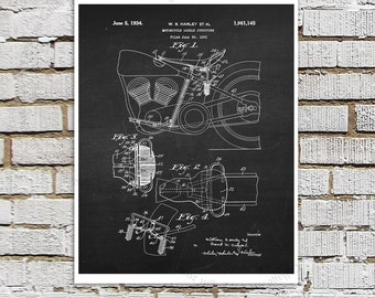Harley Davidson Motorcycle Patent Art Print #A2 with Chalkboard Background Image. Gift for Biker, Harley Davidson Room Wall Decor