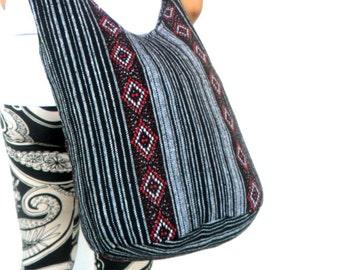 Shoulder Bag Bohemian Bag Crossbody Bag Messenger Bag Sling Thai Hippie Hobo Nepal Red Black Gray Color Bag Boho Purse Gift Bag