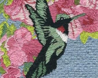 Hummingbird in pink vertical