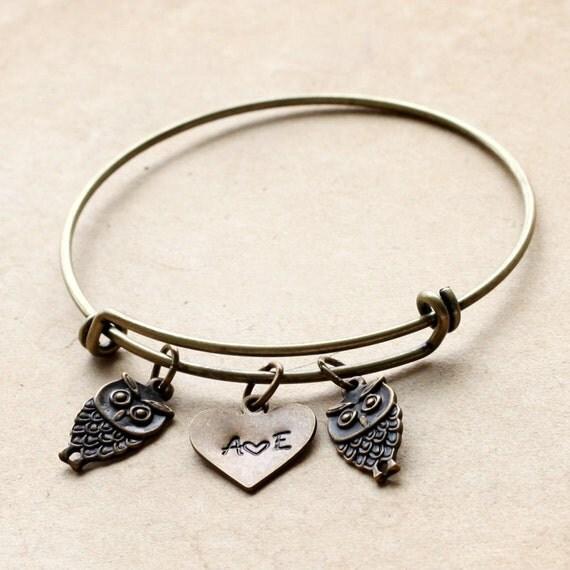 Items similar to Cute owl Bracelet, Initial Bracelet ...