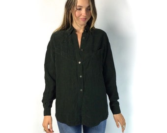 Dark Green Silk Button Up Blouse