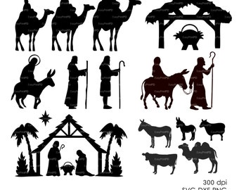 Nativity Christ silhouette Overlays Vector Digital ClipArt (eps, svg, dxf, ai, png) Wall Decor Decal Vinyl Cutting File Silhouette
