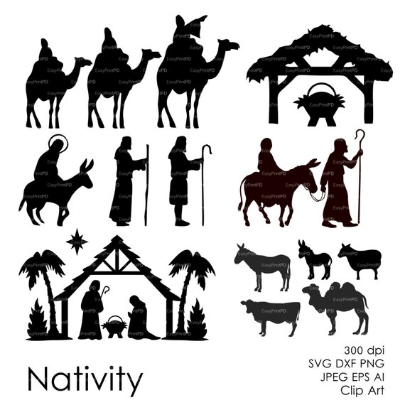 Exhilarating image throughout free printable silhouette of nativity scene