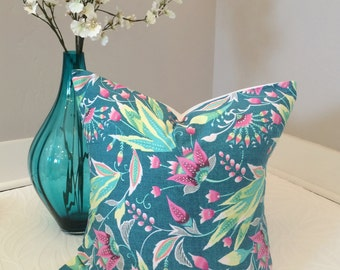 20x20 Modern Floral Pillow Cover with Pink, Green, Teal, and Yellow