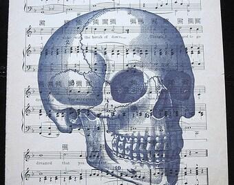 Skull with Writing Art Print on Vintage Music Sheet - Human Anatomy Horror Gothic Wall Decor Wall Print