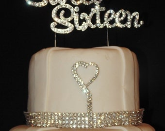 Large Sweet Sixteen Gold Real Rhinestone Birthday Bling Cake Topper