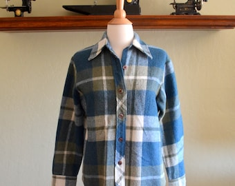 Vintage Plaid Wool Shirt Jacket, Blue White and Sage Green, Sears Jr. High Girl, Teen Size Medium or Women's Small, 1960s