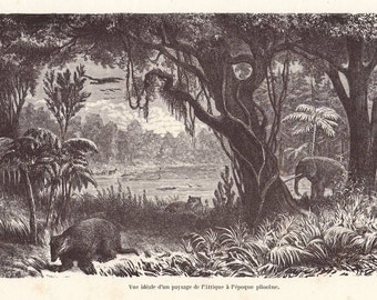 Extinct animals original 1872 zoology print - Pliocene era landscape - 143 years old French antique engraving illustration (A610)