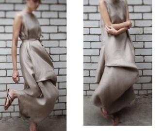 Linen maxi dress/ asymmetrical linen dress/ draped linen dress/ lagenlook dress/ loose fitting linen dress
