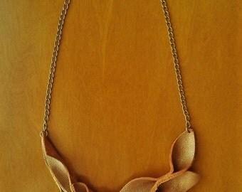 Leather Leaf Bib Necklace, Gold Leather Leaf Bib Necklace, Metallic Gold Leather Petal Necklace, Boho/Hippie Gold Leather Leaf Necklace