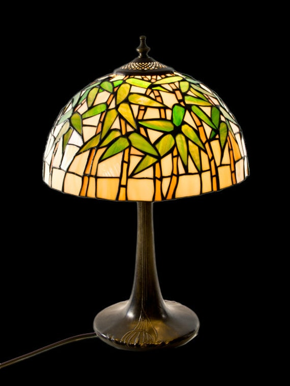 Tiffany stained glass bamboo lamp stained glass by wpworkshop for Tiffany bamboo floor lamp
