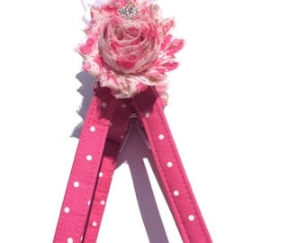 Rose Dog Harness - Polka Dog Dog Harness - Pink Floral and White Dog Harness - Shabby Chic Flowers Dog Harness