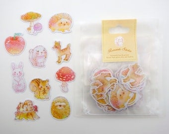 Cute animal stickers - forest animal sticker flakes - kawaii animals - bunny stickers - cute bunnies - deer stickers - hedgehog stickers
