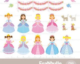 Princess clipart, Princess digital illustrations, little Princess, little princess, Princess in pink, kids printable jpeg image