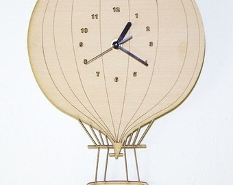 "Wooden wall clock - ""Hot air balloon"" - engrave child name"