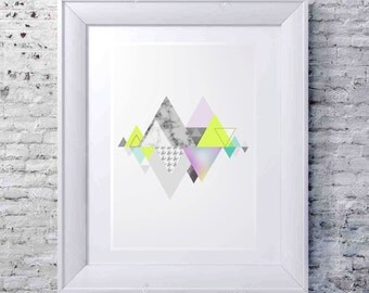 90% SALE Geometric Mountains Print