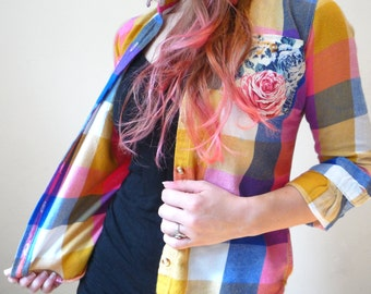 Colorful floral Upcycled Patched Women's Flannel/Top/Shirt