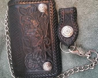 Chain Wallet,  Black rose biker/trucker chain wallet