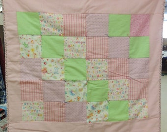 Pink Flannel baby Quilt. crib size blanket