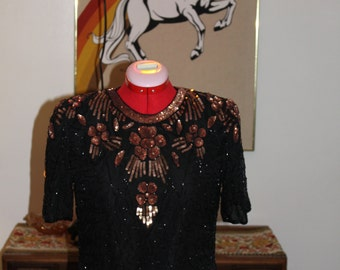80's Pure Silk Beaded Top!