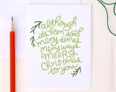 """Christmas Card Set, """"Merry Christmas to You"""" Set of 8 A2 Greeting Cards"""