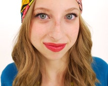 Neon Leaf Top Knot Turban Headband, Womens Fabric Head Wrap, Turban Headband, Fitness Headband, Womens Hair Accessory