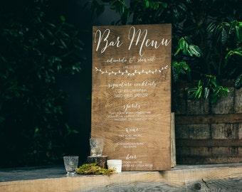 Bar Menu - Signature Drinks - Wooden Wedding Signs - Wood