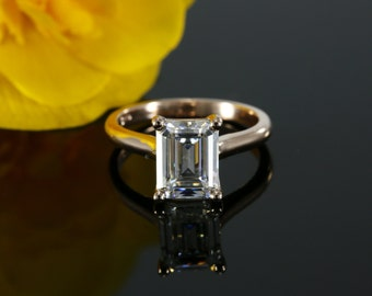 9x7mm Emerald NEO ideal cut Moissanite Solitaire Engagement Ring (available in white gold, rose gold, yellow gold and platinum)