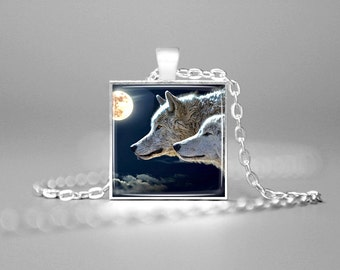 WOLVES NECKLACE MOON Wolves Pendant Wolf Jewelry Wolf Pendant Wolf Pendant Wolf Charm Necklace Two Wolves Wolf Totem Romantic Gifts Romance