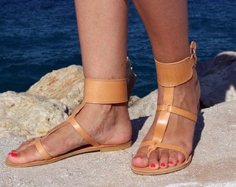 Leather Sandals - High ankle handmade Sandals - Full Grain Leather Women Sandals - Ancient Greek sandals