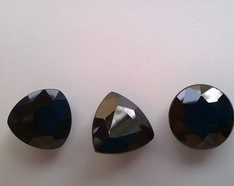 BLACK  SAPPHIRE FACETED Trio sale 20 Off