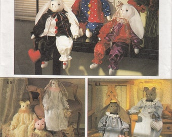 """Simplicity Crafts 9336 Decorative Stuffed 24"""" Bunny Cat & Clothes Sewing Pattern - Uncut Sewing Pattern - Craft Sewing Pattern"""