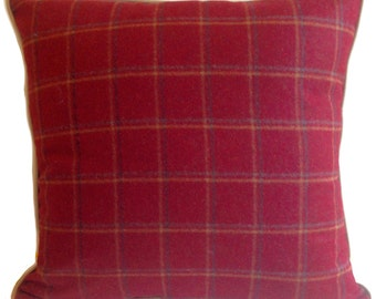"Wool Pillow - 23x23""- Red Plaid / Tartan with Linen Back"