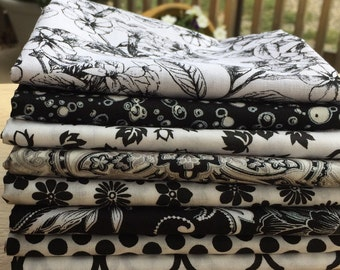 Black and White Fat Quarter, Half Yard, or One Yard Bundles