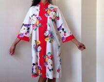 70s Evelyn Pearson Floral Print Zip Up Dress - Housecoat - Housedress  -Houserobe