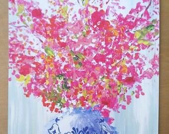 Bright Floral in Blue & White Vase Print 8X10