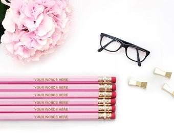 CUSTOM Personalized Pencils Your Words - 12, 24, 48, 72 / Pink Blue Black Silver White Pencil Set / Gold Engraved Imprinted Wholesale