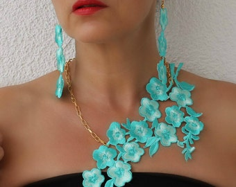 Lace Earrings, Lace Necklace, Dangle Earrings, Statement Earrings, Bib Statement, Blue Lace, Long Earrings, Blue Earrings, Boho Earrings