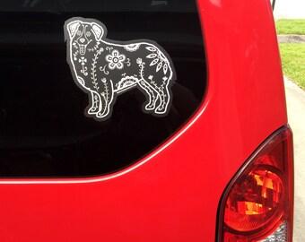 Australian Shepherd Decal - Sugar Skull Aussie Decal - Australian Shepherd Sticker - Aussie Bumper Sticker - Aussie Sticker - Car Decal